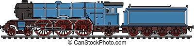 azul, clássicas, vapor, locomotiva