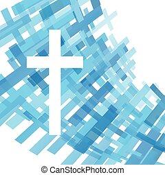 azul, claro, cruz, ilustración, cristianismo, religión, ...
