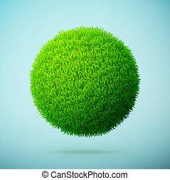 azul, claro, esfera, experiência verde, capim