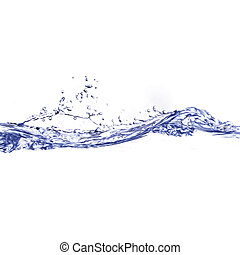 azul, claro, ondas, salpicar, agua, ondas