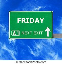 azul, claro, viernes, cielo, contra, señal, camino