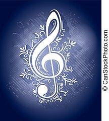 azul, clef, estilo, grunge, g, abstratos, luzes, gotas, ...