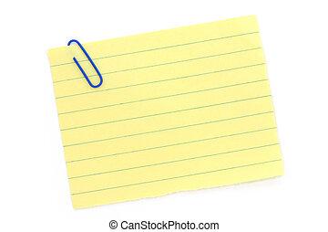 azul, clipe para papel, com, amarela, notepaper