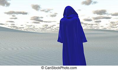 azul, cloaked, figura, en, vacío, desierto