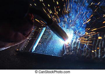 azul, close-up, luz, welging, tocha, máquina, faísca, cena, soldadura
