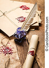azul, closeup, envelope, vindima, tinta