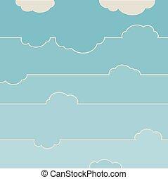 azul, clouds., céu