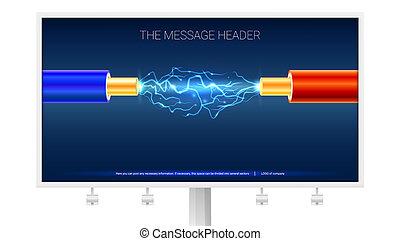 azul, cobre, eléctrico, cable, chispas, entre, ilustración, relámpago, aislamiento, arco, eléctrico, billboard., alambres, cables, rojo, 3d