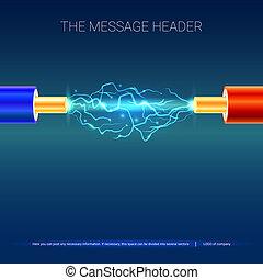 azul, cobre, sparks., arco, eléctrico, cable, presentación, ilustración, o, insulation., eléctrico, plano de fondo, entre, publicidad, cables, wires., rojo, 3d