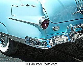 azul, coche de la vendimia, vista, aleta, trasero, closeup.