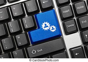 azul, colaboração, -, tecla, teclado, conceitual, símbolo