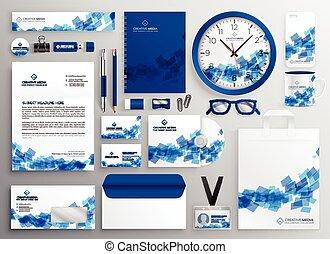 azul, colateral, conjunto, empresa / negocio, diseño ...