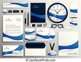 azul, colateral, conjunto, empresa / negocio, moderno, ...