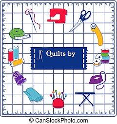azul, colcha, patchwork, ícones, cosendo, corte, diy, tapete