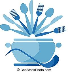 azul, colheres, pote, -1, garfos