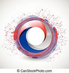 azul, color, ilustración, círculo blanco, rojo