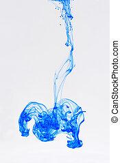 azul, color, transición, agua, caído, tinta