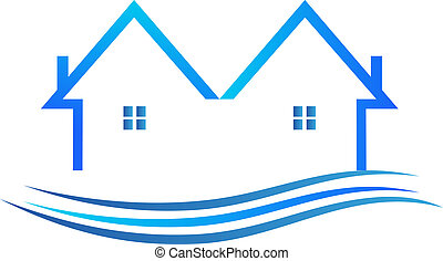 azul, color, vector, logotipo, casas