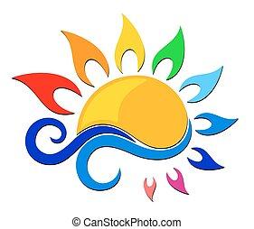 azul, color, wave., logotipo, sol
