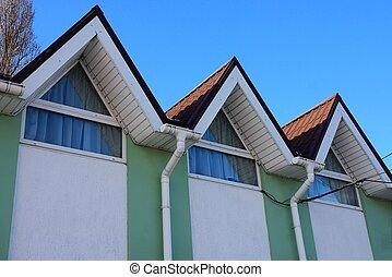 azul, coloreado, ático, cielo, techo, windows, contra, debajo, embaldosado