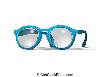 azul, colorido, óculos