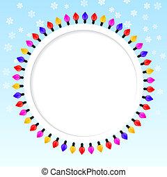 azul, colorido, festivo, quadro, lights., fundo, natal.