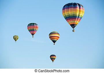 azul, coloridos, céu, ar, quentes, balões