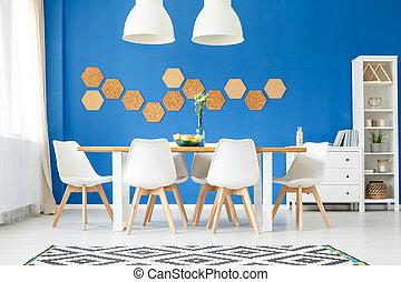 azul, comedor, real, pared