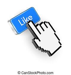 azul, como, texto, botón, mano, cursor