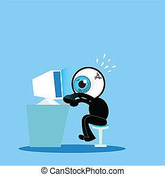 azul, comp, duro, ojo, trabajando