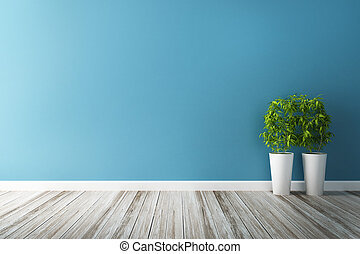 azul, complot, flor, pared, interior, blanco