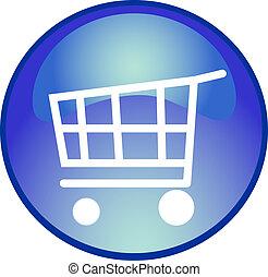 azul, compras, botón