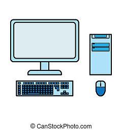azul, computador desktop, vetorial