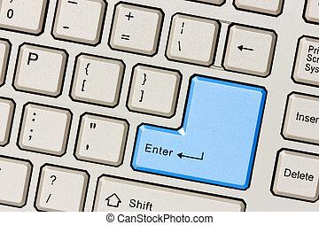 azul, computador, entrar, tecla, teclado