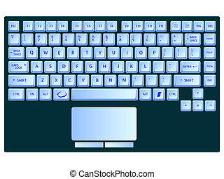azul, computador portatil, blanco, contra, teclado