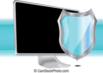 azul, computadora, protector