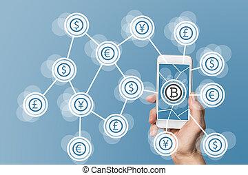 azul, conceito, computando, móvel, blockchain, bitcoin, ...