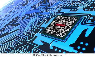 azul, conceito, cybersecurity, encrypted, tábua, circuito, dados