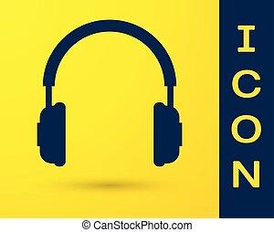 azul, conceito, fones, comunicação, sinal., objeto, isolado, amarela, experiência., vetorial, serviço, ilustração, escutar, operator., música, fones ouvido, ícone