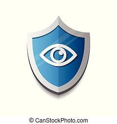 azul, conceito, olho, escudo, proteção, fundo, branca, segurança, ícone