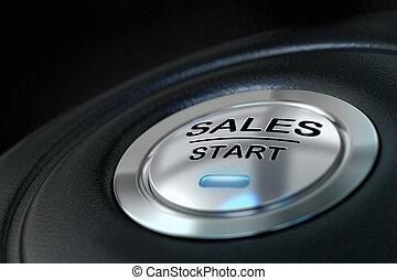 azul, conceito, palavra, effect., início, cor, material, abstratos, botão, metal, foco, vendas, experiência., pretas, borrão, venda, principal, textured