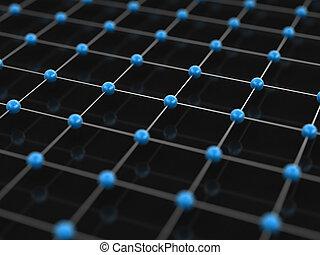 azul, conceito, prata, rede