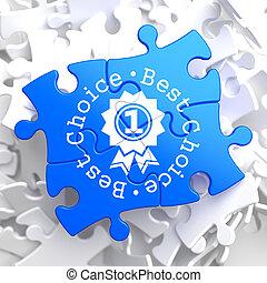 azul, conceito, puzzle., melhor, escolha