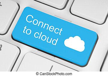 azul, concepto, botón, conectar, teclado, nube