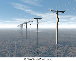 azul, concepto, energía eléctrica, líneas, alto, rendido, ...