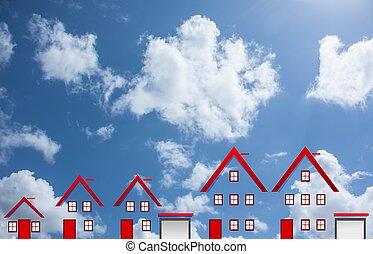 azul, concepto, nubes, casas, cielo, sueño