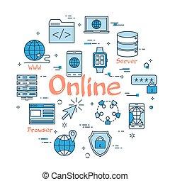 azul, concepto, redondo, en línea