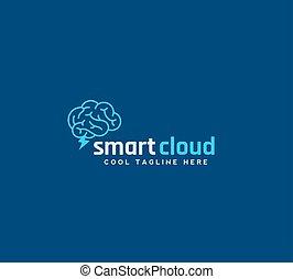 azul, concepto, silueta, ventisca, cerebro, resumen, o,...