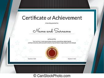 azul, conclusão, certificado, quadro, diploma, graduação, prata, elegante, desenho, luxo, modelo, borda, ou