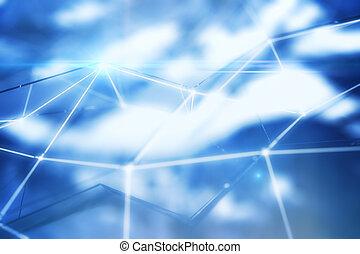 azul, conectado, pontos, closeup